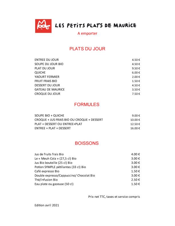 Carte tarif Les Petits Plats de Maurice