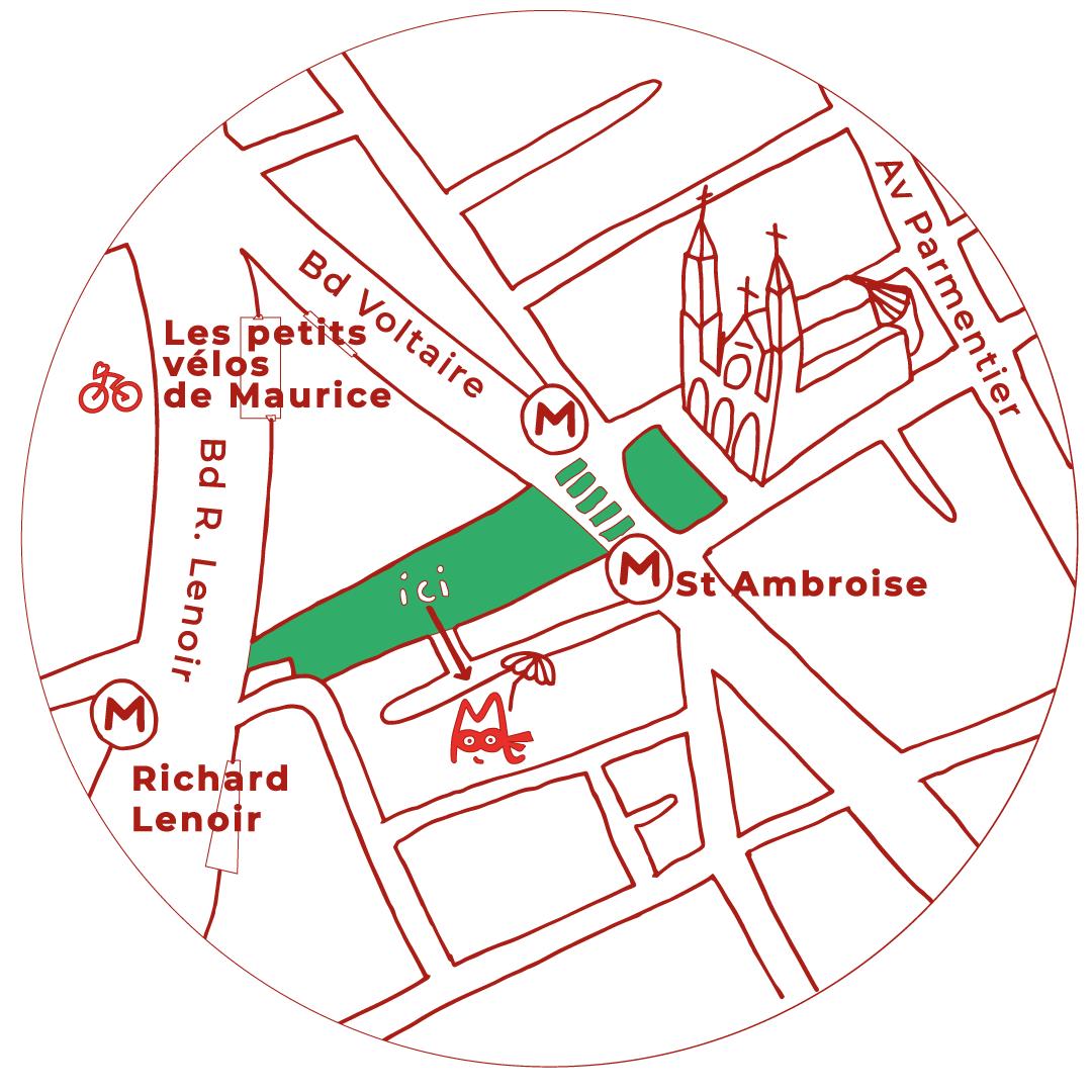 Carte illustrée restaurant Les Petits Plats de Maurice